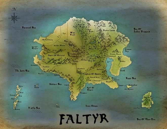 Revised map of Faltyr (particularly one hemisphere of the planet).