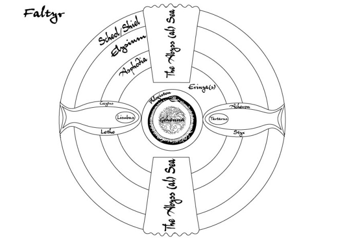 Cosmological map of Faltyr's Nine Hells.